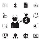 crescita dell'icona della borsa dei soldi di s '\ degli impiegati Insieme dettagliato delle icone di caccia di calore & di ora Se Immagini Stock Libere da Diritti