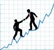 Crescita dell'impresa del grafico di aiuto del gruppo di affari Immagini Stock Libere da Diritti