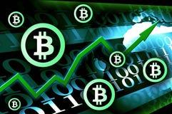 Crescita di valuta di Bitcoin - illustrazione moderna del fondo di notizie di concetto Fotografia Stock