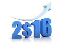 Crescita 2016 e dollaro con la freccia Immagine Stock
