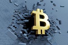 Crescita esplosiva di bitcoin, concetto 3d Fotografia Stock
