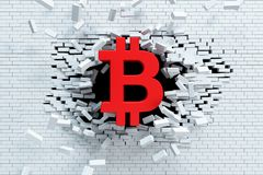 Crescita esplosiva di bitcoin, concetto 3d Fotografie Stock Libere da Diritti