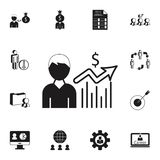 crescita finanziaria di un'icona degli impiegati Insieme dettagliato delle icone di caccia di calore & di ora Segno premio di pro Fotografie Stock Libere da Diritti