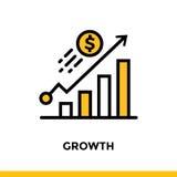 CRESCITA lineare dell'icona di finanza, contante Pittogramma nel porcile del profilo Immagini Stock