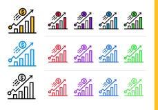 CRESCITA lineare unica delle icone di finanza, contante Profilo moderno i Fotografia Stock