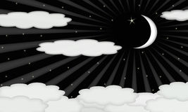 Cresent Moon and Stars on Cloudy Night Stock Photo