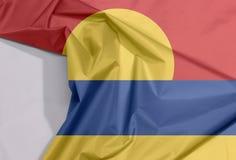 Crespón de menor importancia de la bandera de la tela de las islas periféricas de Estados Unidos y espacio del pliegue y blanco stock de ilustración