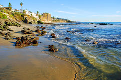 Cress Street Beach (2) Laguna Beach, CA. Image shows Cress Street Beach during an extreme low tide in Laguna Beach, California. The white building at the upper Stock Images