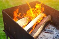 CREST της φλόγας στο κάψιμο του ξύλου στην εστία στοκ φωτογραφίες