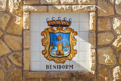 Crest for Benidorm, Costa Blanca, Spain - APRIL 2014: colorful s Royalty Free Stock Image
