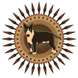 Crest with dog. Illustrated crest with stylized dog Royalty Free Stock Photo