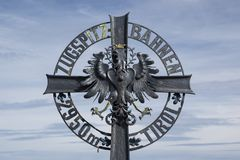 Crest emblem of the Zugspitzbahn at the Austrian side. Next to the Zugspitze summit station Stock Photo