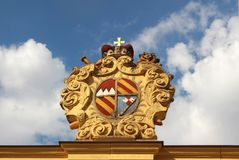 Crest of a German bishop, made from yellow sandstone royalty free stock images