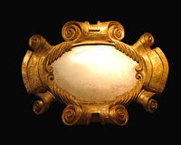 Crest. Gold crest with oval empty space Royalty Free Stock Images