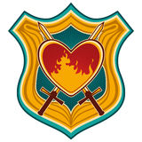 Crest with heart. Illustrated colorful crest with heart Stock Photography