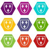 Crest icon set color hexahedron. Crest icon set many color hexahedron isolated on white vector illustration Stock Photo