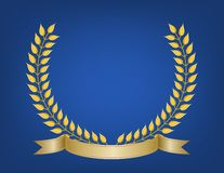 Crest of Leaves and Ribbon. Crest emblem made of detailed gold leaf branches and ribbon banner on soft glow royal blue background Stock Images