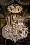 Crest, made from Bones. The Crest of a Czech town, made entirely of human bones Royalty Free Stock Photo