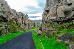 Crest of Mid-Atlantic Ridge in Thingvellir National Park. In Iceland stock image