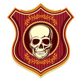 Crest with skull. Illustrated crest with human skull Stock Photos