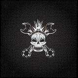 Crest with skull,flame and spanners Stock Photography