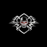 Crest with skull in helmet and spanners Royalty Free Stock Image