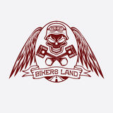 Crest with skull,wings and pistons Royalty Free Stock Photo