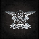 Crest with skull,wings and pistons. Bikers soul silver crest with skull,wings and pistons Stock Image