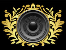 Crest with speaker. Golden crest with speaker on black Stock Image