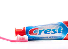 Crest Tooth Paste. And Tooth Brush Stock Photo