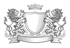 Crest with two lions and a shield. Crest with two roaring lions, a shield with a crown and banner Royalty Free Stock Photo