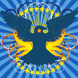 Crest Vector. Vector - Bright shining crest with eagle and a floral background Stock Photography