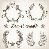 Crest with vintage style design elements, use for logo, frame. Vector format very easy to edit, individual objects Royalty Free Stock Images