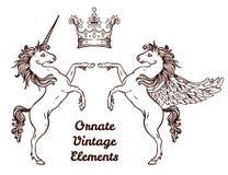 Crest with vintage style design elements, use for logo, frame Stock Image