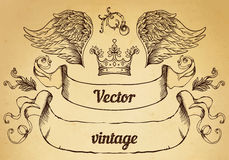 Crest with vintage style design elements, use for logo, frame. Vector format very easy to edit, individual objects Royalty Free Stock Photos