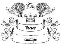 Crest with vintage style design elements, use for logo, frame Royalty Free Stock Photo