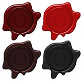 Crest wax seals in four colors. Illustration Royalty Free Stock Photo