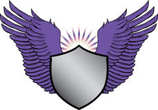 Crest with wings. An illustration of a crest with wings and sunrays Stock Photo