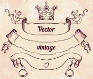 Cresta con los elementos del diseño del estilo del vintage, uso para el logotipo, marco Imágenes de archivo libres de regalías