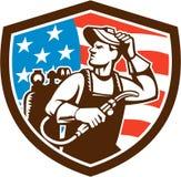 Cresta de la bandera de Looking Side los E.E.U.U. del soldador retra stock de ilustración