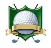 Cresta del premio di golf con il contrassegno in bianco dell'oro Immagini Stock