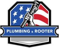 Cresta della bandiera di Hand Pipe Wrench U.S.A. dell'idraulico retro Fotografie Stock