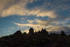 Cresta della lava di Laufskalavarda e cairn di pietra, Islanda immagini stock