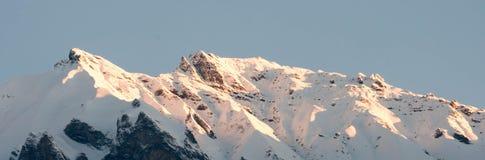 Cresta della montagna di Snowy nelle alpi alle prime luci Fotografia Stock