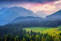 Cresta di Enghe mountain range at foggy summer morning. Stock Image