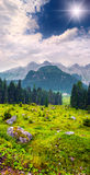 Cresta di Enghe mountain range at foggy summer morning. Stock Photography