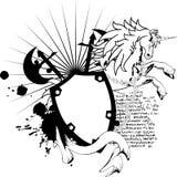 Cresta heráldica shield5 del escudo de armas del unicornio Fotografía de archivo libre de regalías