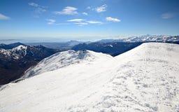 Cresta nevosa panoramica Fotografia Stock Libera da Diritti
