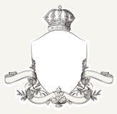 Cresta real del vintage con el escudo, la corona y Banne Foto de archivo libre de regalías