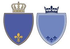 Crestas azules con las coronas reales stock de ilustración